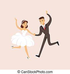newlyweds, fazendo, primeiro, dança moderna, em, a, partido casamento, cena