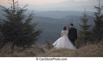 Newlyweds. Groom with bride walking away on mountain slope. Wedding couple