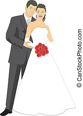 Newlyweds - Vector image of a happy couples during the...