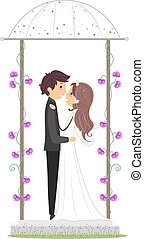 Newlyweds in a Gazebo - Illustration of a Newlywed Couple in...