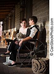 Newlyweds in Rustic Scene
