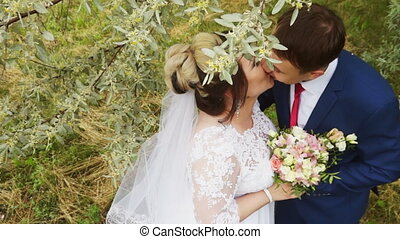 Newlyweds kiss on the branches of a flowering tree -...