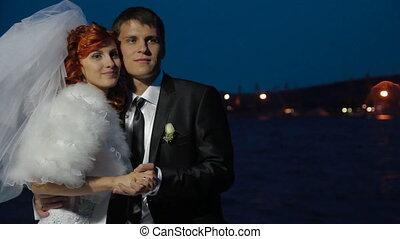 Newlyweds near the sea