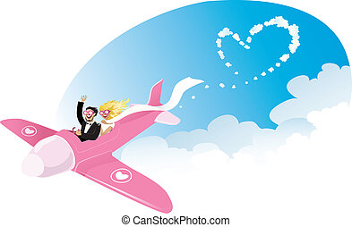 Newlyweds on airplane - Vector cartoon of a happy newlyweds...