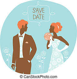 newlyweds, ouderwetse , trouwfeest, illustratie, uitnodiging, card.