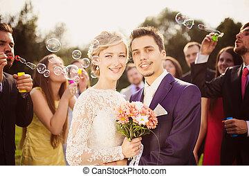newlyweds, ricezione, matrimonio
