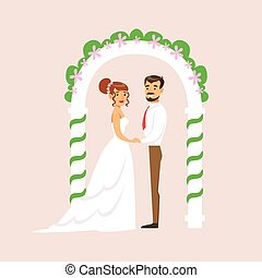 Newlyweds Standing At The Arch Of The Altar At The Wedding Party Scene