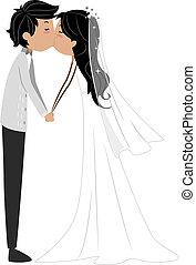 Newlyweds - Illustration of a Newlywed Couple Sharing a Kiss
