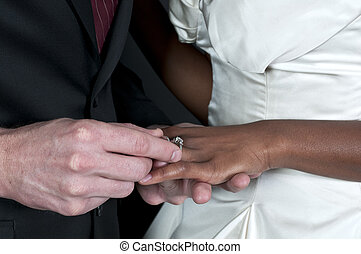 Newlyweds - Caucasian man and a black African American woman...