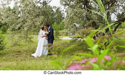 Newlyweds under the branches of a flowering tree - Newlyweds...