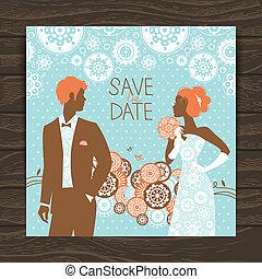 newlyweds, vendemmia, matrimonio, illustrazione, invito, card.