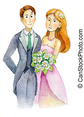 newlyweds, wedding, bride and groom, engaged couple, Wedding Party invitation, greeting card, watercolor, aquarelle