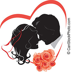 Newlyweds with bouquet of roses. Wedding icon. Vector...