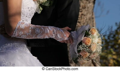 Newlyweds with roses HD