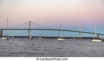 newport, 橋梁, 在, 傍晚