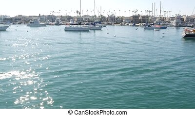 Newport beach harbor, weekend marina resort with yachts and ...