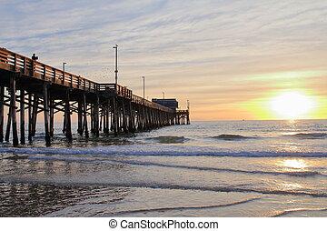 Newport Beach Pier at the sunset - USA