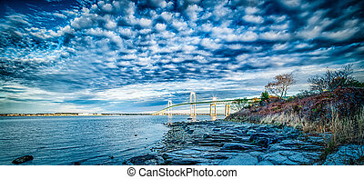 Newport Bridge connecting newport and jamestown at sunrise
