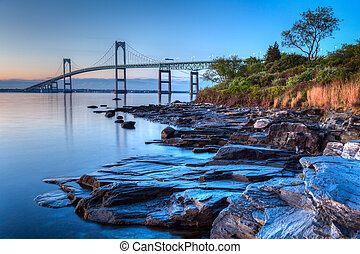 Newport Bridge Sunrise - This is a long exposure HDR of the...