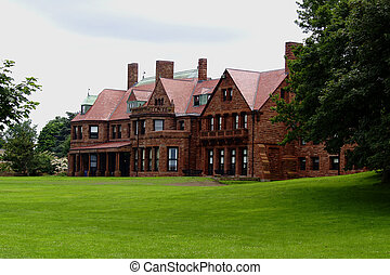 Newport Mansion - A grand old mansion sits along the Newport...