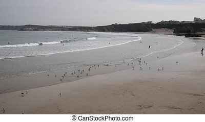 Newquay Towan beach Cornwall PAN - Newquay harbour North ...