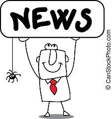 """News - A man with a sign : """"NEWS"""""""