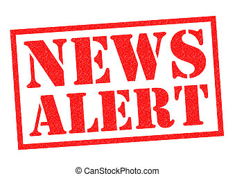 NEWS ALERT red Rubber Stamp over a white background.