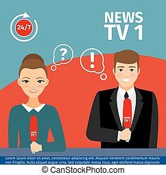 News anchor man and woman