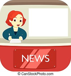 News anchor on air - A news anchor reading out the news on...