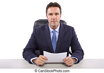 News Anchor on White Background - male news anchor or...