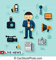 news and mass media vector concept, journalist and...