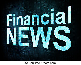 News and press concept: pixelated words Financial NEWS on digital screen, 3d render