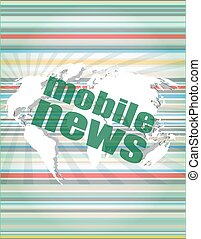 News and press concept: words mobile news on digital screen vector quotation marks with thin line speech bubble. concept of citation, info, testimonials, notice, textbox. isolated on white background. flat style trend modern logo design vector illustration