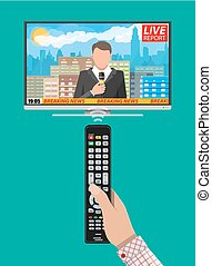 News announcer in the studio - Modern flat screen tv with...
