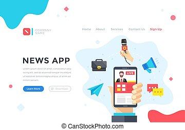 News app. Modern flat design graphic elements for web banner, landing page template, website. Vector illustration