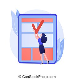 News article editing and proofreading. Press, newspaper reading. Business document, agreement, contract checking. Journalism and mass media. Vector isolated concept metaphor illustration