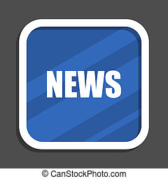 News blue flat design square web icon