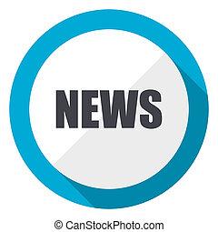 News blue flat design web icon