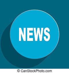 news blue flat web icon