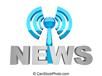 News broadcast - News word and broadcast station or wi-fi