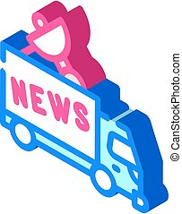 news car truck isometric icon vector illustration