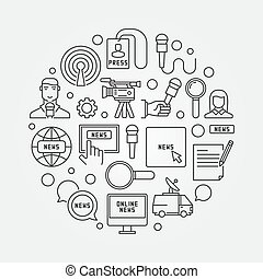 News circular outline illustration - vector round sign made ...
