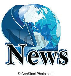 news - Illustration, globe with blue arrow and inscription...