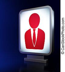 News concept: Business Man on billboard background