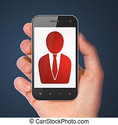News concept: Business Man on smartphone - News concept:...