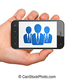 News concept: Business People on smartphone