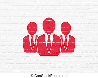 News concept: Business People on wall background