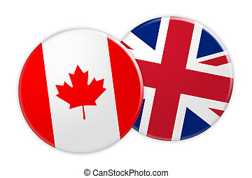 News Concept: Canada Flag Button On UK Flag Button, 3d illustration on white background