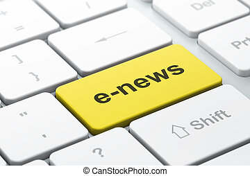 News concept: computer keyboard with word E-news, selected focus on enter button, 3d render