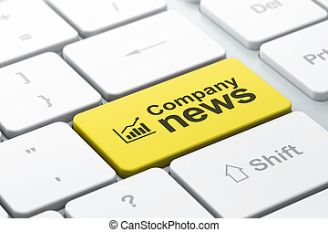 News concept: computer keyboard with Growth Graph icon and word Company News, selected focus on enter button, 3d render